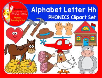 Alphabet Letter Hh Phonics Clipart Set