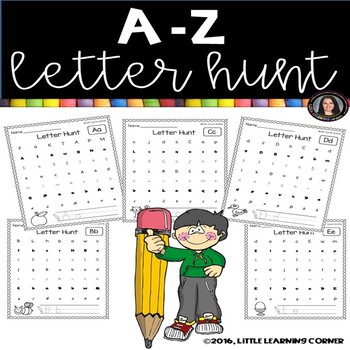 Alphabet Letter Hunt Worksheets A-Z