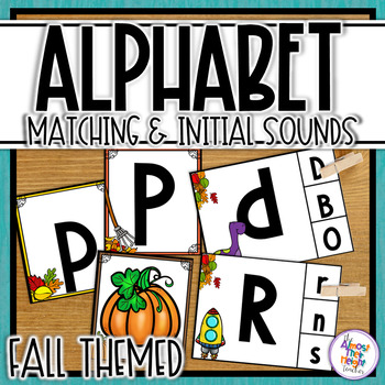 Alphabet Letter & Initial Sound Matching and Clip Activities - fall themed