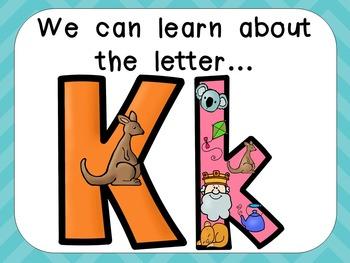 Alphabet Letter Kk PowerPoint Presentation- Letter ID, Sounds, and Handwriting