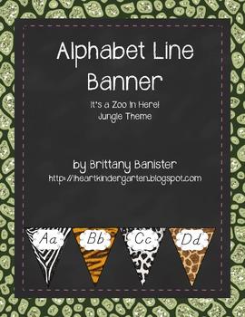 Alphabet Letter Line Jungle Zoo Theme D'Nealian