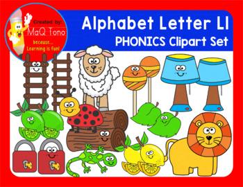 Alphabet Letter Ll Phonics Clipart Set