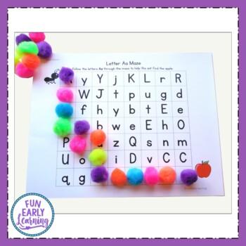 Alphabet Letter Mazes - Color and Black Line Literacy Activity