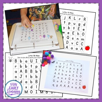 Alphabet Letter Mazes - Color and Black Line Literacy Activity