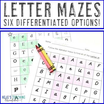 Letter Mazes Literacy Center | Letter Recognition | Alphabet Letters