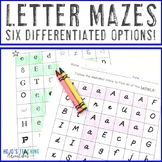 Letter Maze Worksheets for Alphabet Recognition Practice | Distance Learning