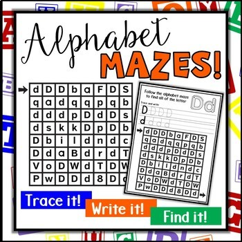 Alphabet Mazes   Letter Identification Activities   Upper Case and Lower Case