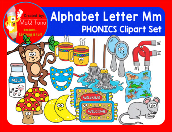 Alphabet Letter Mm Phonics Clipart Set