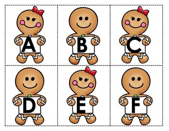 Alphabet - Letter Names Practice - Gingerbread Cookie Theme