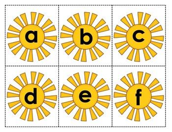 Alphabet - Letter Names Practice - Summer/Sun Theme