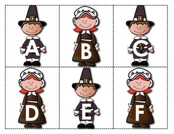 Alphabet - Letter Names Practice - Thanksgiving Pilgrims Theme