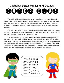 Alphabet Letter Names and Sounds Super Club by Carolyn