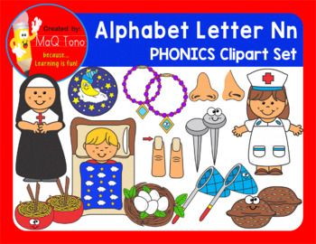 Alphabet Letter Nn Phonics Clipart Set