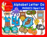 Alphabet Letter Oo Phonics Clipart Set