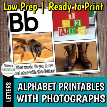 Alphabet Letter Pages with Real Photographs to Review Beginning Sounds