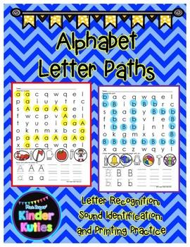 Alphabet Letter Paths: Letter Recognition, Letter Identification & Printing