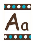Alphabet Letter Poster Set in Brown & Blue Polka Dots