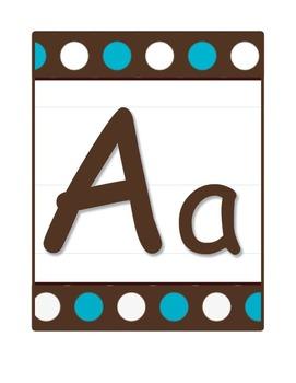 Alphabet Letter Poster Set in Brown & Blue Polka Dots