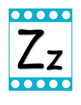 Alphabet Letter Poster Set in Blue/ White Polka Dots