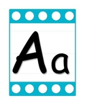 Alphabet Letter Poster Set in Blue/ White Polka Dots