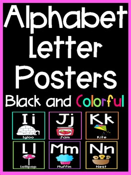 Alphabet Letter Posters (Black and Colorful Series)