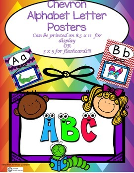 Alphabet Letter Posters-Chevron Pattern. Cute Graphics and Bright Colors!