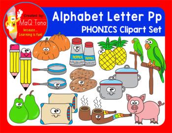 Alphabet Letter Pp Phonics Clipart Set