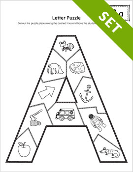 Alphabet Letter Puzzle Activity Set PRINTABLE {BW}