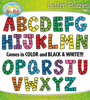 Alphabet Letter Puzzles Clipart {Zip-A-Dee-Doo-Dah Designs}