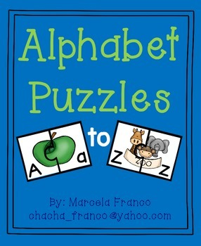 Alphabet Letter Puzzles- Initial Sound with Uppercase and