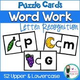 Word Work: Puzzle Game. Letter Recognition Beginning Sounds. Upper & Lowercase