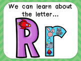 Alphabet Letter Rr PowerPoint Presentation- Letter ID, Sounds, and Handwriting
