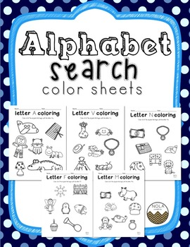 Alphabet Letter Search Coloring Sheets, No-Prep!