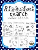 Alphabet Letter Search Coloring Sheets, No-Prep!
