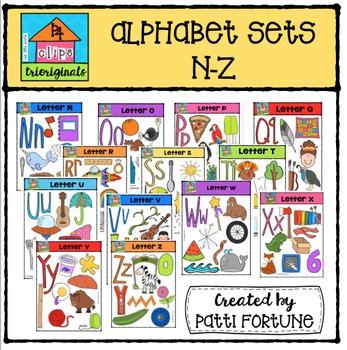 Alphabet Letter Sets N-Z {P4 Clips Trioriginals Digital Clip Art}