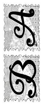Alphabet Letter Sets Version 1 - Black & White (hand drawn DOODLE background!)
