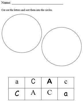 Letter Sort Cut and Glue for Preschool, Kindergarten, or 1st Grade