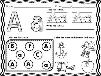 Alphabet Letter Sort (Puzzle, Recognition) No Prep Practice Pages
