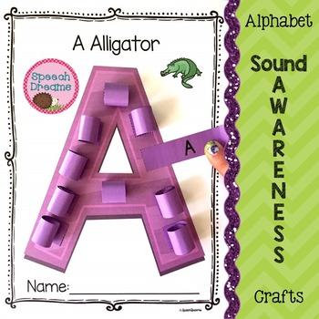 Alphabet Letter Sound Awareness Crafts {phonics tracing phonological awareness}