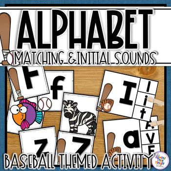 Alphabet Letter & Inital Sound Matching - Baseball Themed