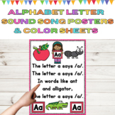 Alphabet Letter Sound Song Posters & Color Sheets Letters
