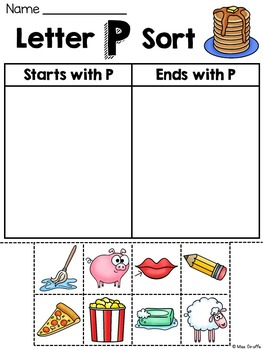 Alphabet Letter Sounds Starts With or Ends With Picture Word Sorts
