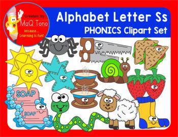 Alphabet Letter Ss Phonics Clipart Set