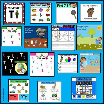 Alphabet -- Letter T SMARTboard Activities (Smart Board)