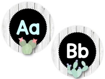 Alphabet Letter Tiles: Rustic Cactus Edition