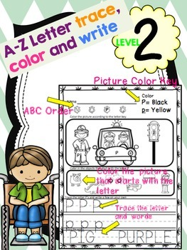 Alphabet Letter Trace Color and Write Level 2