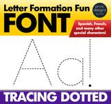 Alphabet Letter Tracing Font • Letter Formation Font • DOTTED