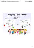 Alphabet Letter Tracing - Worksheet Printouts - Pre-K - 1