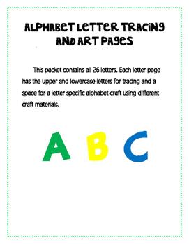 Alphabet Letter Tracing and Art Worksheet Set