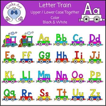 Alphabet Letter Train (Upper & Lower Case combined) Clip Art